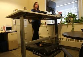 Using the office treadmill to fight the flab