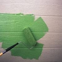 Roller Painting House Siding Green