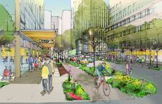 Artist's impression of new Amazon campus in Seattle