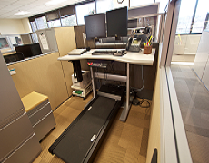 One of the treadmill workstations used in the research