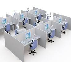 open plan office cubicle