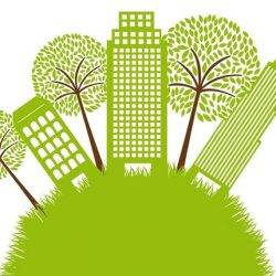 12495813 - green buildings with tree over grass. illustration
