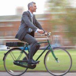 Man on a bike on his commute to work