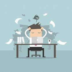 An illustration of a worker with stress through overwork