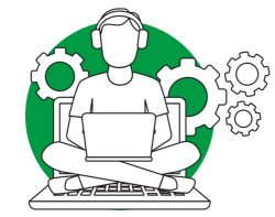 Illustration of a millennial worker on a laptop surrounded by cogs