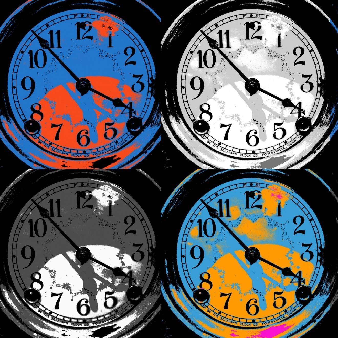 An art depiction of four clocks illustrating a shorter working week