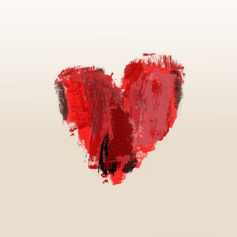 An abstract painting of a heart to show the link between lack of workplace trust and heart disease